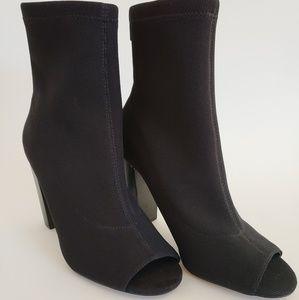 Aldo Black Peep Toe Booties - New Without Box